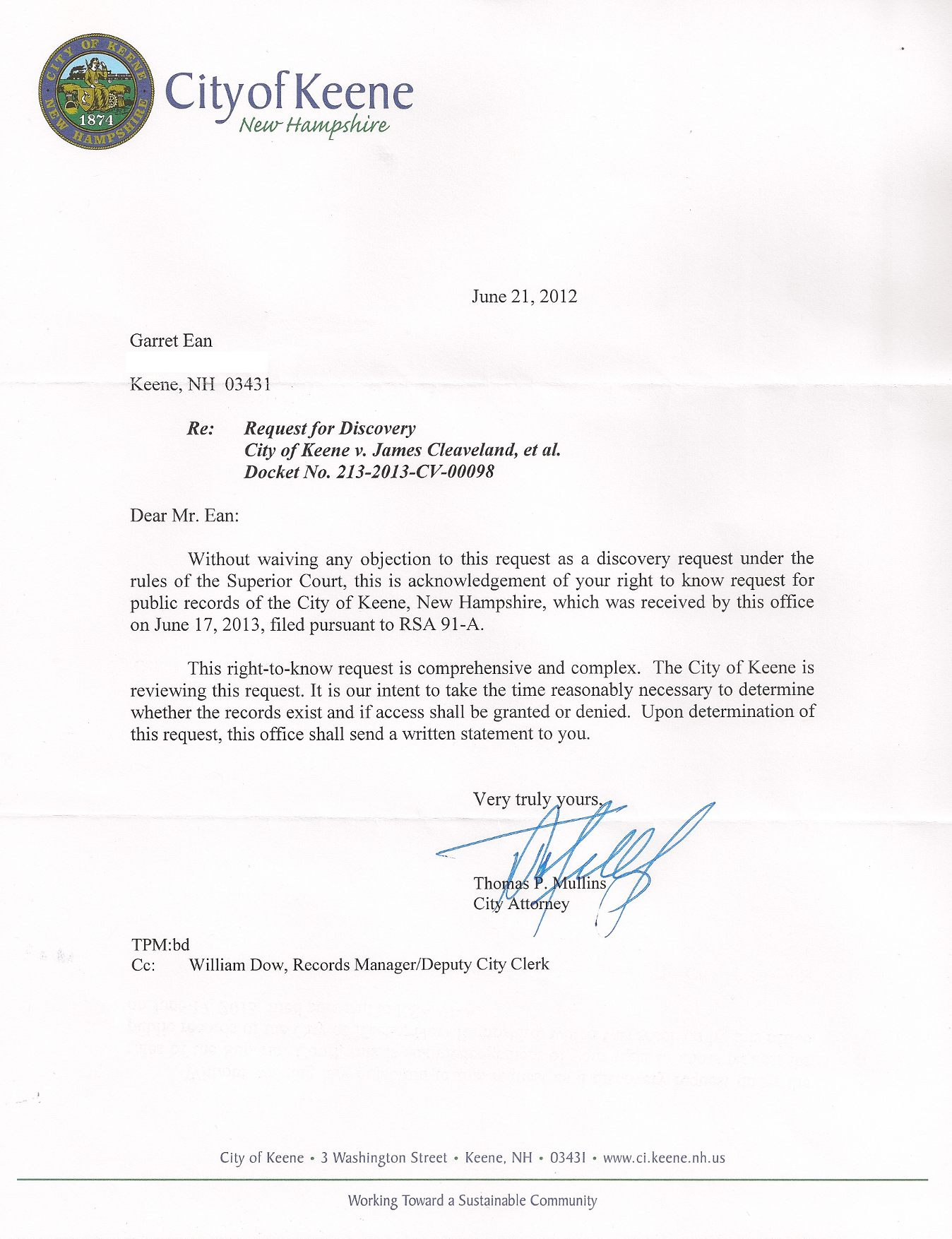 meet and confer letter re deposition